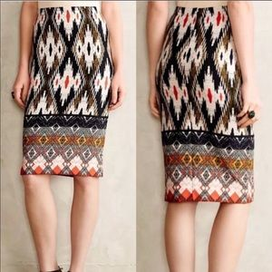 Anthropologie Maeve Iguaza Pencil Ikat Skirt S